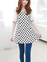 Women's Short Sleeved Chiffon Shirt Dot Geometric Mosaic