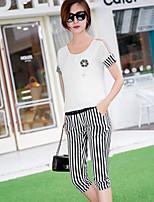 BIAOSHANG®Women's Casual Round Collar Cotton Two Piece Suit (shirt & Short Pant)(Cotton)