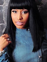 Europe and The United States Wigs Micro Volume Long Straight Hair Neat Bang Wig 1 B#