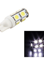 10PCS YouOKLight® T10 2W 150lm 9-SMD5050 6000K  White Light LED Car Bulb Light(12V)