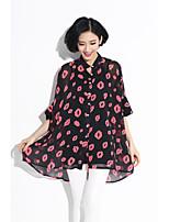 Women's Beach/Casual/Print Inelastic ½ Length Sleeve Regular Shirt (Chiffon)8022#