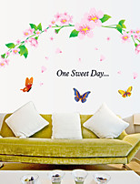 Wall Stickers Wall Decals Style Flower And Butterfly PVC Wall Stickers