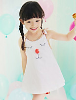 Girl's Summer Cartoon Print Thin Sleeveless Dresses (Cotton)