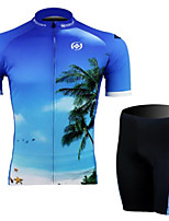 Sea Blue Short Sleeved Suit Wicking Riding, Cycling Wear, Motor Function Material