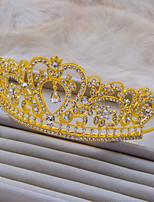 Korean Hairbands Style Gold Color With White Rhinestone Fashion Wedding Tiara A1041S
