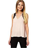 Women's Sexy Casual Lace Plus Sizes Inelastic Sleeveless Long Blouse (Chiffon)