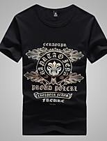 Men's Round Casual Fashion Printing Short Sleeve Regular T-Shirts (Cotton/Elastic/Lycra)