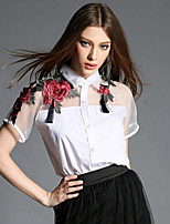 Women's  Fashion Inelastic Embroidery  Splicing OL Style Simplicity Short Sleeve Shirt (Organza/Cotton)