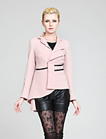 Women's Solid Pink Blazer , Casual Long Sleeve Ruched