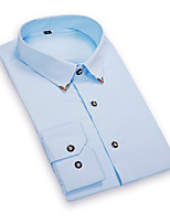 Men's Fashion Refined Metal Collar Angle Slim Long Sleeved Shirt