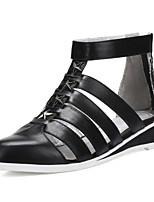 Women's Shoes Leather Wedge Heel Comfort/Pointed Toe Sandals Outdoor/Office & Career/Dress Black/Beige