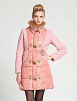 Women's Solid Pink Down Coat , Vintage Long Sleeve Pocket