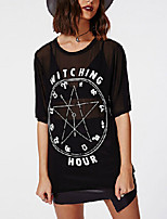 Women's Sexy Sheer Mesh See-through Half Sleeve Letters Print Casual T-shirt