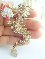 Women Accessories Gold-tone Topaz Rhinestone Crystal Dragon Brooch Art Deco Crystal Scarf Brooch Women Jewelry