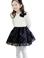 Kids Girls Spring Fall Double Bow Black and White Stitching Party Dress (Cotton Blend)