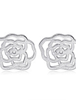Jazlyn Authentic Platinum Plated 925 Sterling Silver Hollow Camellia Flower Stud Earrings Fit Kids