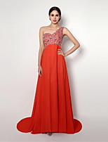 Cocktail Party/Formal Evening Dress /Sheath/Column One Shoulder Sweep/Brush Train Chiffon Dress