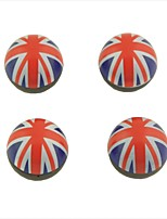 4 Pcs Car Union Jack Flat Pattern Round Shape Tire Valve Wheel Stem Cap Cover