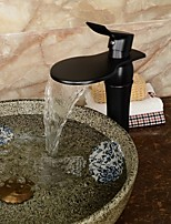 High Quality Large Wide-mouth Waterfall Oil-rubbed Bronze Bathroom Sink Faucet (Tall) - Black