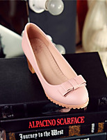 Women's Shoes Synthetic Chunky Heel Heels/Basic Pump Pumps/Heels Office & Career/Dress/Casual Black/Pink/Red/White