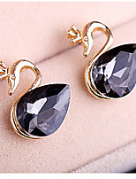 Women's Korean Version Twinkle Black Diamond Crystal Swan Earrings