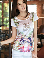 Women's Print/Patchwork White T-shirt , Round Neck/Stand Short Sleeve