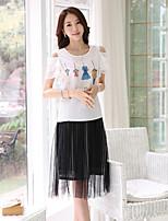 Women's Print/OL Round Collar Strapless Micro-elastic Short Sleeve Regular Blouse (Chiffon)