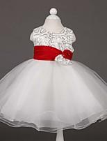 פרח שמלת ילדה - קו A - תה באורך - ללא שרוולים - סאטן/טול
