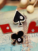 Women's Poker Shape Enameled Earrings