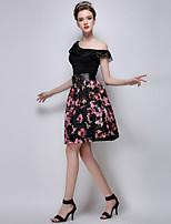 TS Women's Fashion Simplicity Floral Print High Waist Elegant Above Knee Bubble Skirts(Organza)