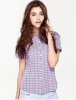 JAMES Summer Women's Slim Purple-White Plaids&Checks  Short Sleeve Shirt/ Blouse Business Cute Fashion