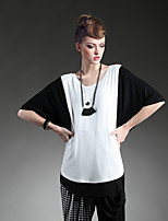 T-Shirt Da donna Asimmetrico Mezze maniche Cotone