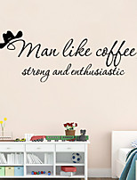 Wall Stickers Wall Decals Style Man Like Coffe English Words PVC Wall Stickers