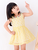 Girl's Summer Round Collar Colorful Gems Sleeveless Dresses (Lace)
