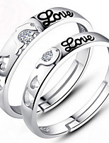 Couples' Silver Ring With Crystal