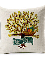 Country Tree Patterned Cotton/Linen Decorative Pillow Cover