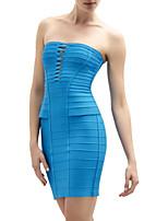 Cocktail Sheath/Column Strapless Short Spandex/Nylon Taffeta/Rayon Celeb Bandage Dress