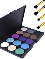15 Colors Professional Warm Makeup Nude Eyeshadow Matte Shimmer Palette Cosmetic+4PCS Pencil Makeup Brush