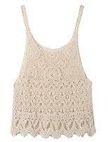 Women's Solid Black/Beige Vest , Round Neck Sleeveless Hollow Out
