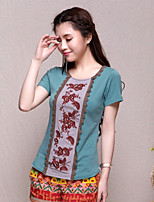 Women's Character Green T-shirt , Round Neck Short Sleeve Embroidery/Flower