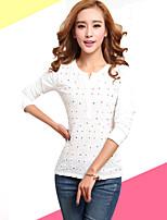 Women's Casual Micro-elastic Long Sleeve Regular T-shirt (Cotton/Linen)