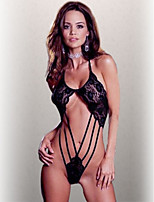 Women's Transparent Ultra Sexy Hollow Out Nightwear Black/ Red