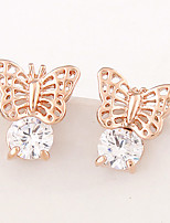 Women's Fashion Sweet Butterfly Alloy Stud Earrings With Rhinestone