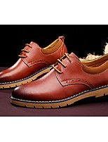 Men's Shoes Outdoor/Casual Leather Oxfords Black/Brown/Burgundy