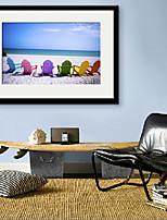 E-HOME® Framed Canvas Art, A Chair on The Beach.  Framed Canvas Print
