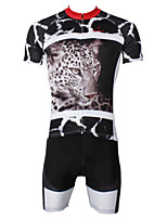 PaladinSport Men's  Cycyling Jersey + Shorts  Bike Suits DT553 Snow Leopard