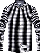 Men's Cotton Casual Long Sleeve Plaids Shirts
