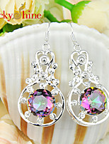 Newest Round Fire Multi-Colored Mytic Topaz Gem Earring Drop Earrings For Wedding Party Daily Casual 1pair