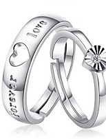 Couples'heart-shaped Silver Ring With