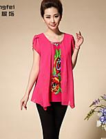 Women's Print Blue/Red/Black Blouse , Round Neck Short Sleeve